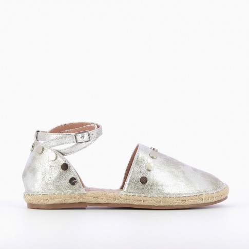 Silver espadrilles with round studs