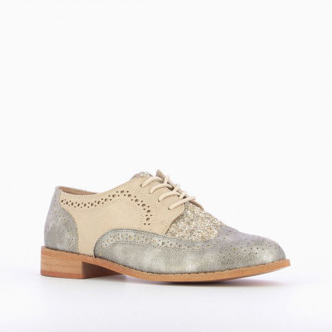 Silver brogues with glittery vamp
