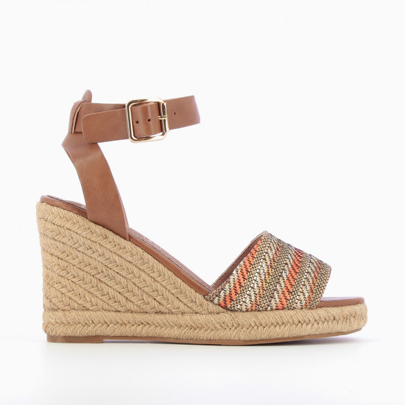Camel and yellow wedge sandals with braided straps