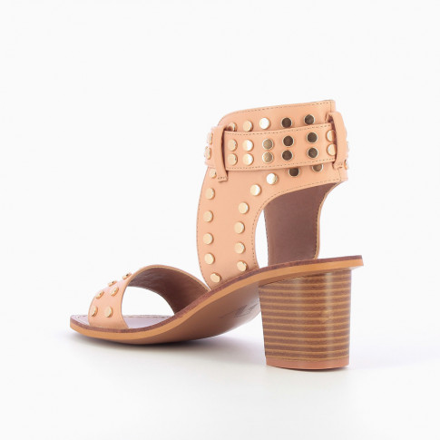 Pink studded faux leather sandals with large strap