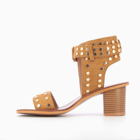 Camel studded suedette sandals with large strap
