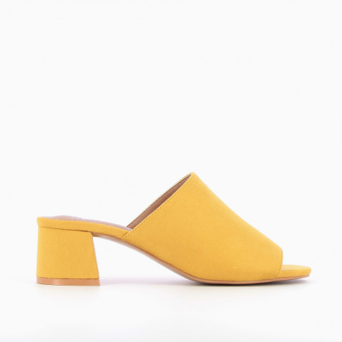 Yellow peep-toe mules with heel