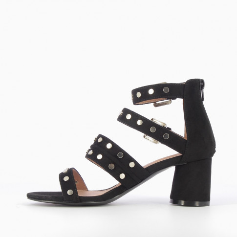 Black sandals with studded straps