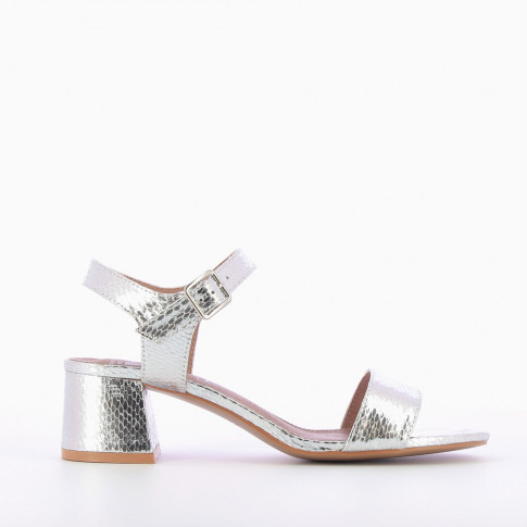 Silver sandals with thick low heel