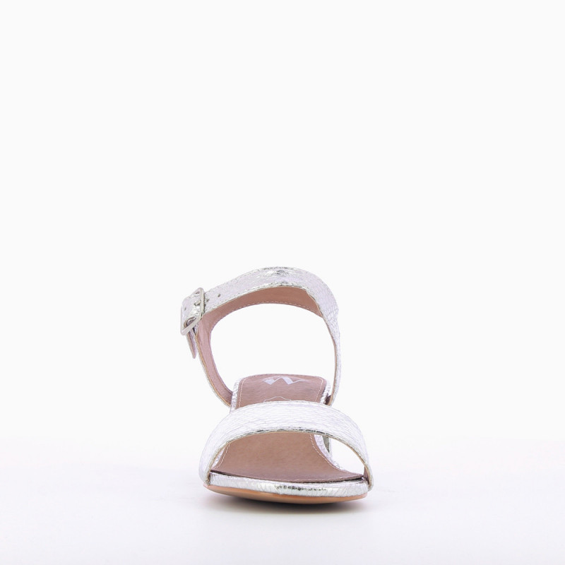f7e67fe31b15 Silver sandals with thick low heel - Vanessa Wu Store