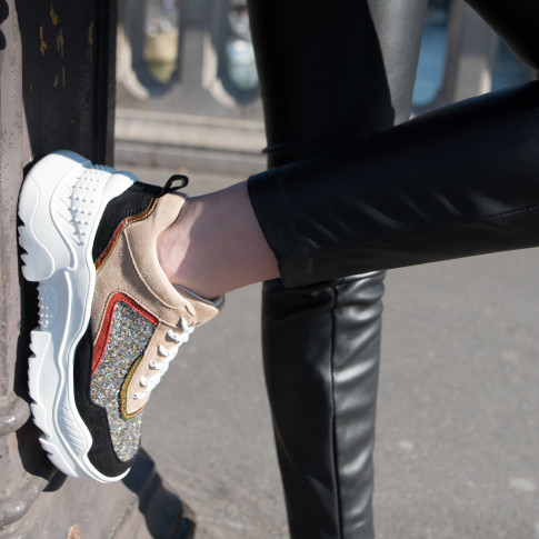 Beige and black oversized sole sneakers
