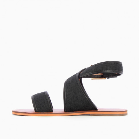 Black woven canvas sandals