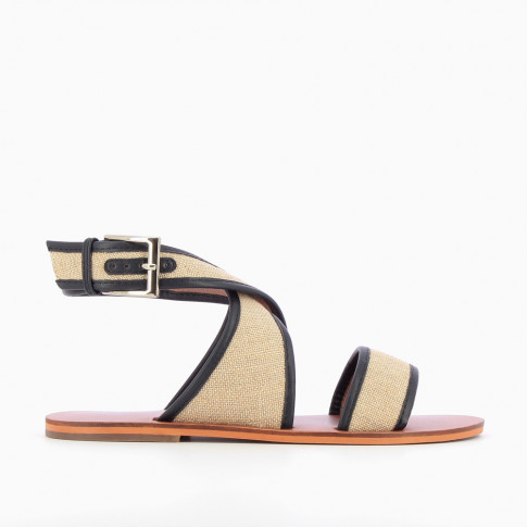 Beige and navy woven canvas sandals