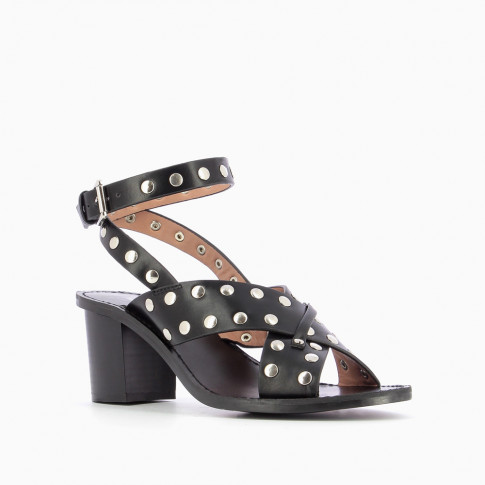 Studded black sandals with crossed straps