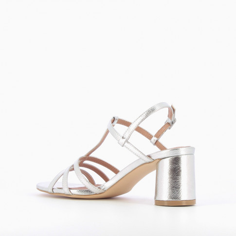 Silver sandals with fine straps and round heel