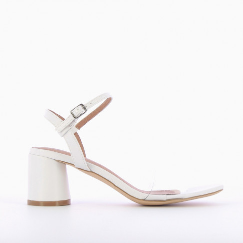 White sandals with transparent straps