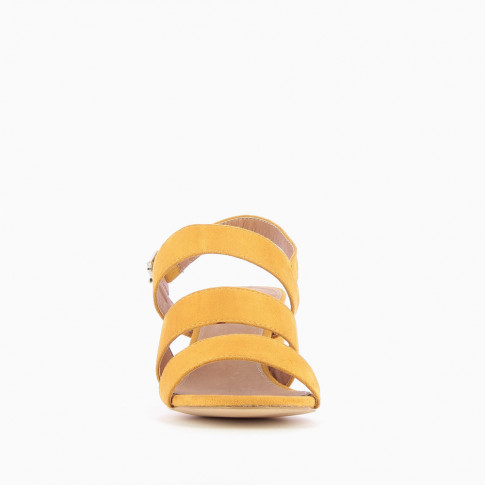 Yellow three strap sandals with heel