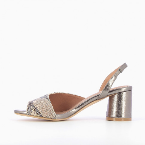 Charcoal gray sandals with python asymmetrical strap