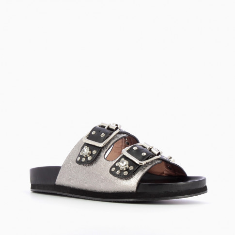 Black and silver double buckle mules