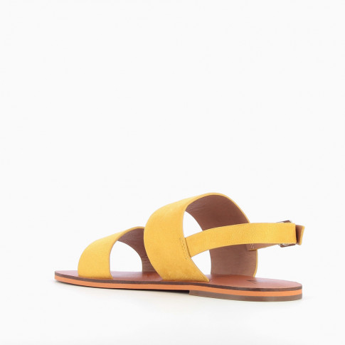 Yellow suedette sandals with large straps