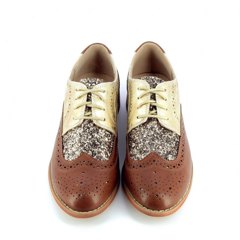 Camel brogues with glittery vamp