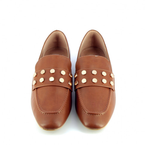 Camel studded bridle loafer