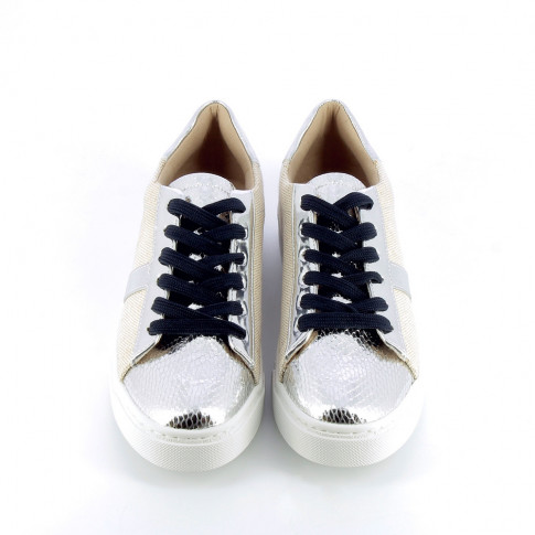 Beige and silver sneakers with burlap effect