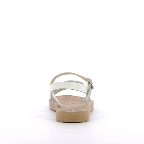 White lightweight sandals with silver strap