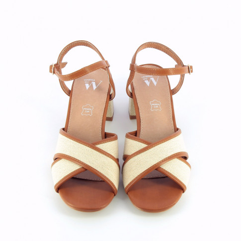 Beige and camel canvas sandals with heel