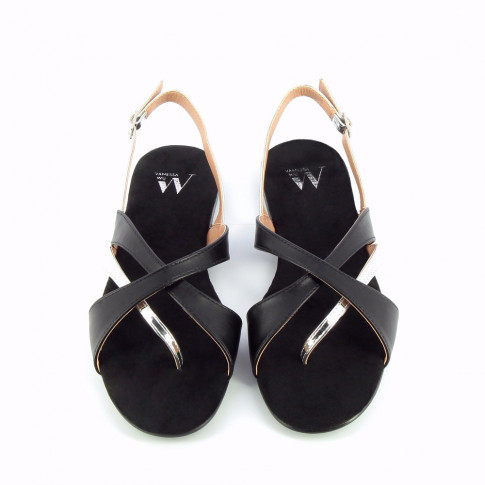 Black and silver cross-strap sandals