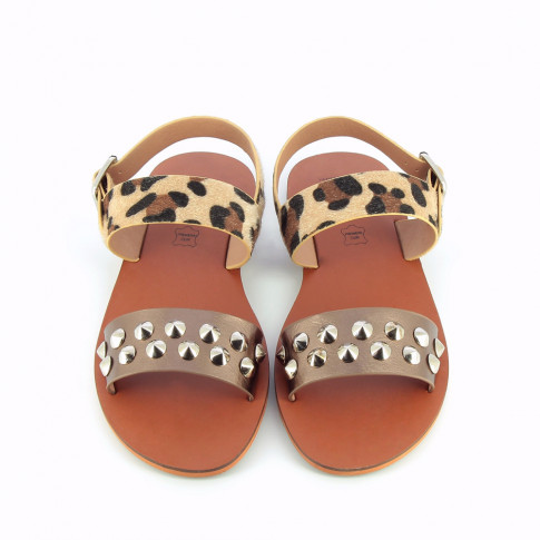 Bronze and leopard-print sandals with conical studs
