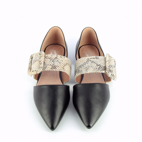 Black pointed-toe ballet flats with python buckle