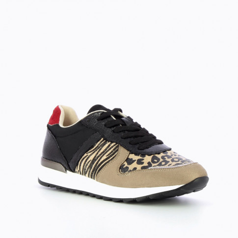Taupe and black sneakers with animal-print yokes