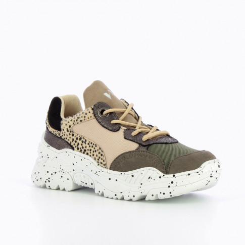 Beige and army green sneakers with large galaxy-print sole