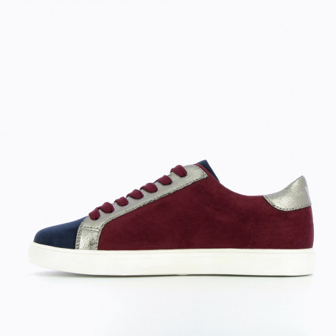 Plum and navy suedette sneakers