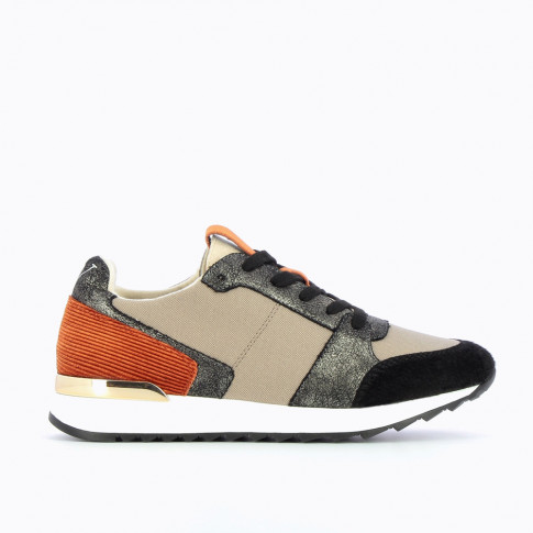 Taupe and black sneakers with orange detailing