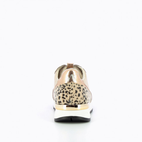 Nude and rose gold sneakers with leopard detailing