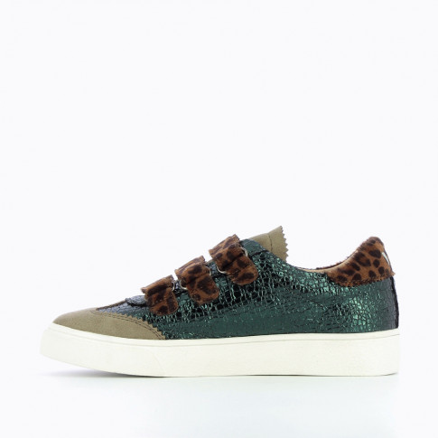 Green crackled effect sneakers with leopard velcro