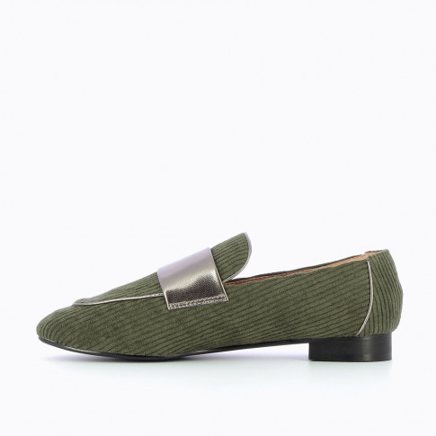 Army green ribbed velvet loafers
