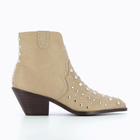 Beige cowboy ankle boots with fantasy studs