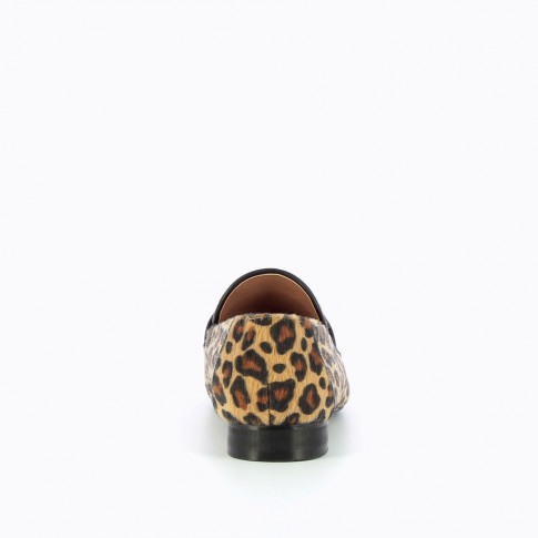 Leopard faux fur loafers