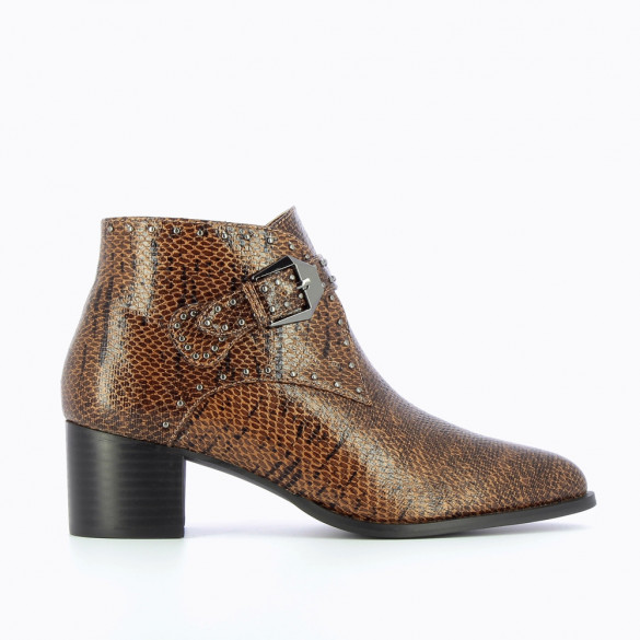 Bottines à talon western camel effet serpent