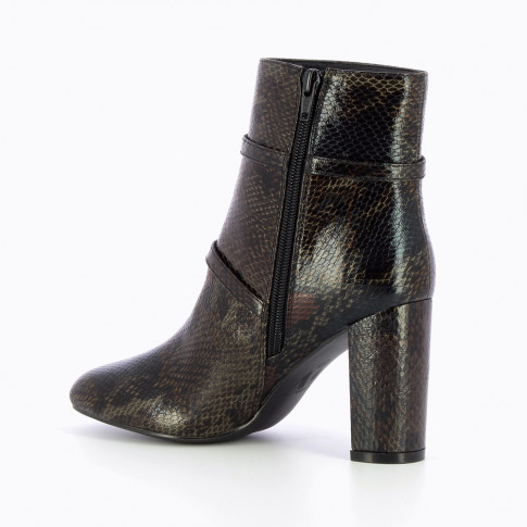 Black snakeskin ankle boots with heel