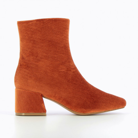 Rust-coloured velvet corduroy ankle boots