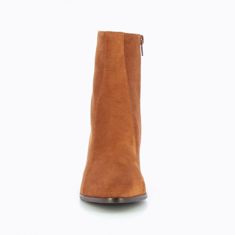 Camel suedette bottines with heel