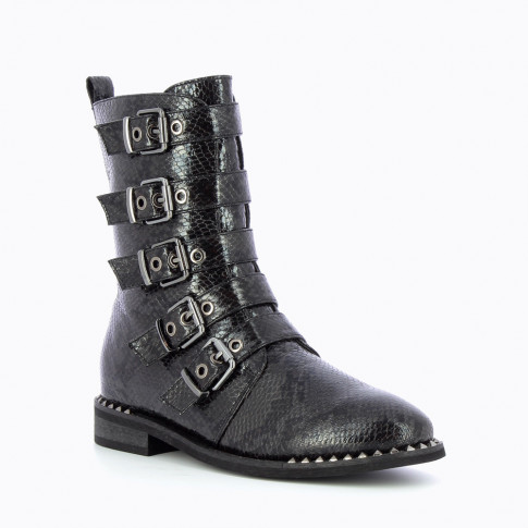 Black biker boots with buckles and snake leather effect