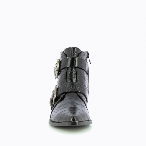 Black boots with a double buckle and crocodile leather effect