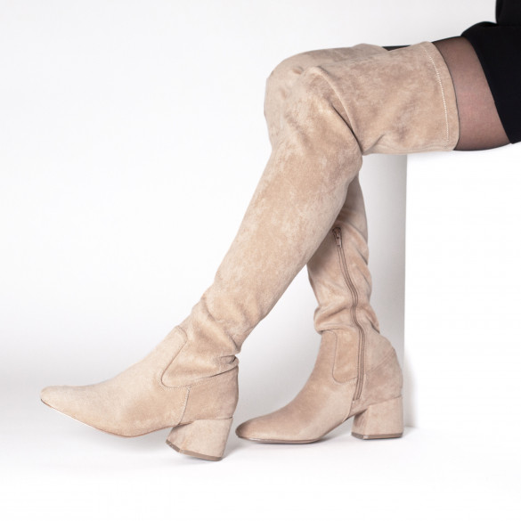 Beige suedette thigh-highs