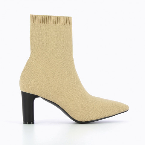 Beige knit sock-boots