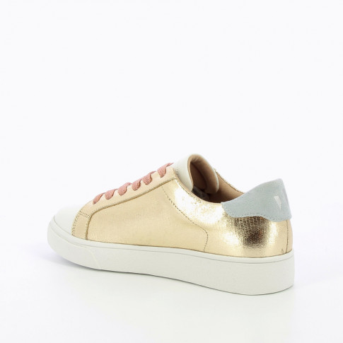 Gold sneakers with light blue detailing