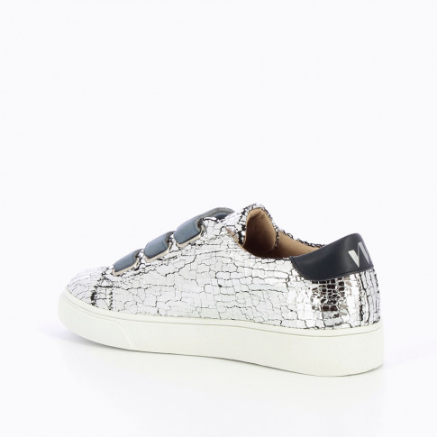 Silver crackled effect sneakers with blue velcro