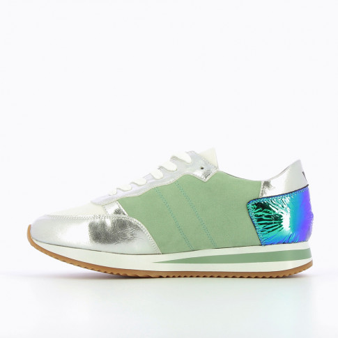Silver and green sneakers with side stripe