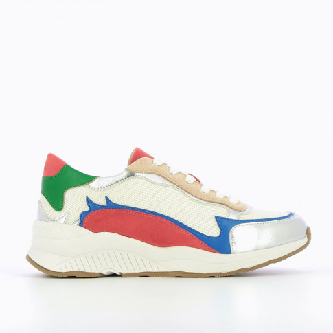 Multicoloured sneakers with flame cutouts