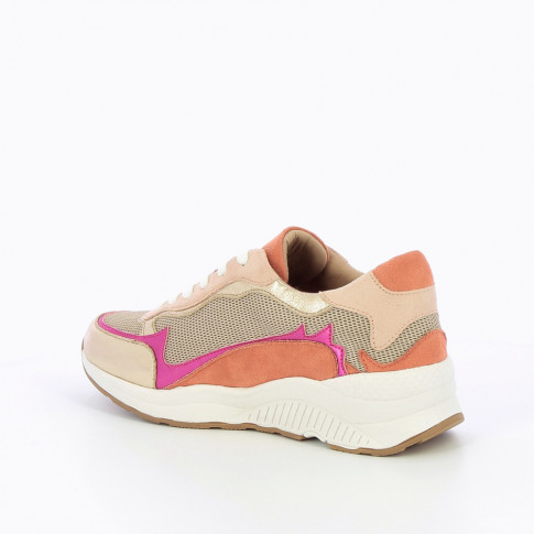 Pink and gold sneakers with flame cutouts