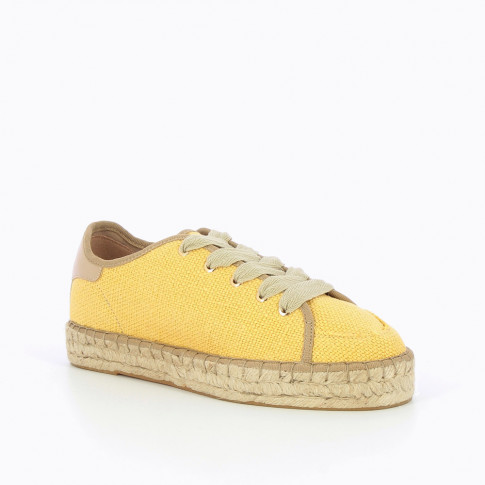 Yellow woven sneakers with espadrille sole
